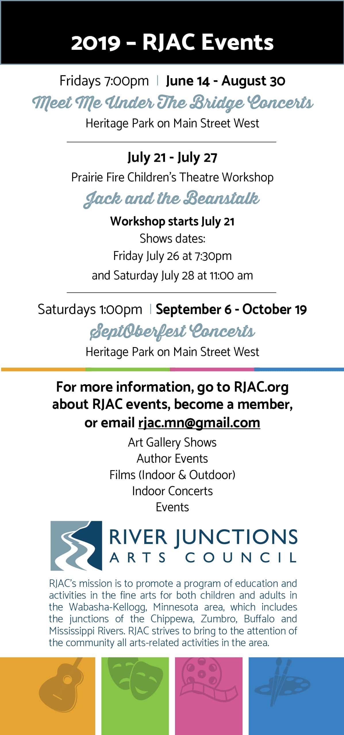 River Junctions Arts Council Concerts & Events 2019