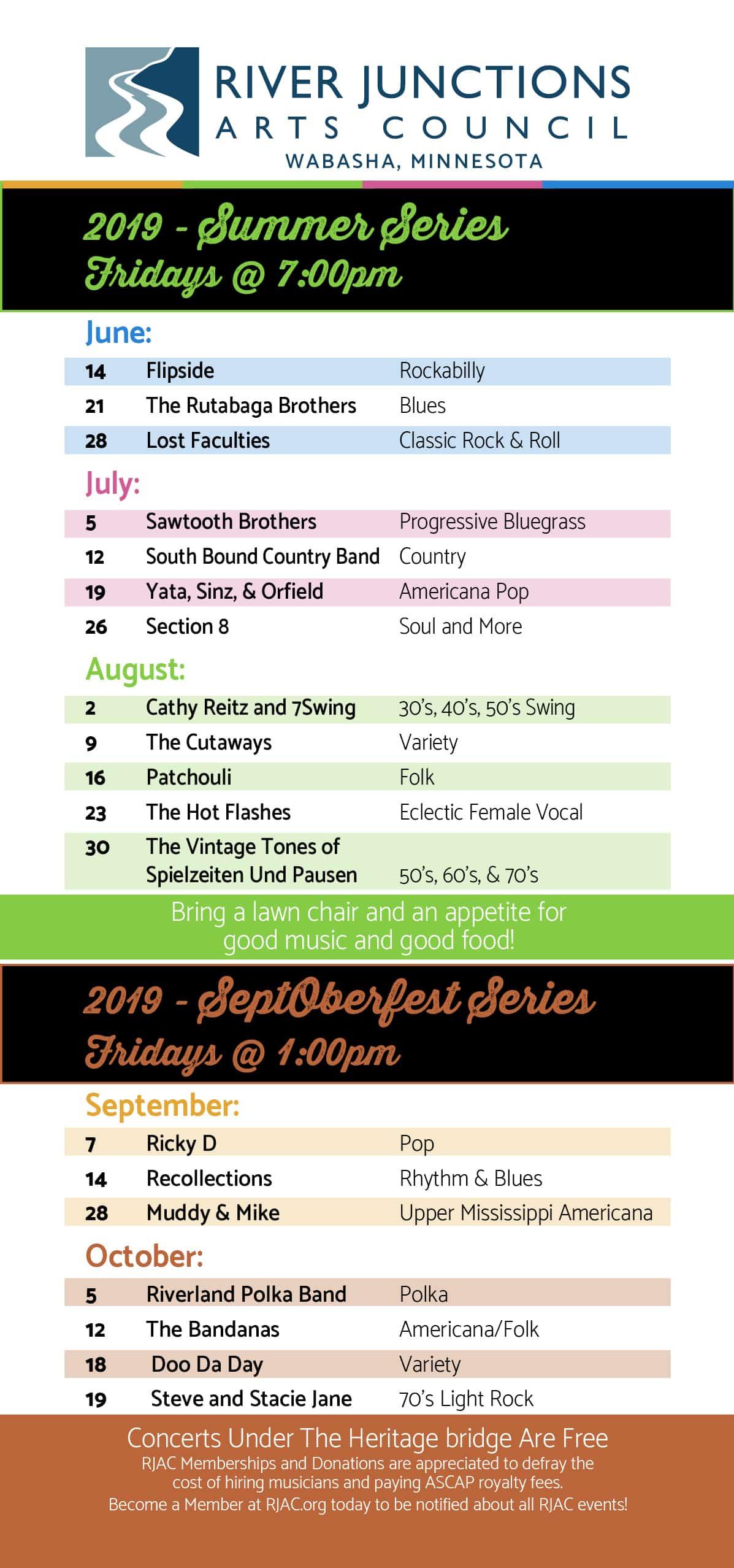 River Junctions Arts Council Free Concerts 2019